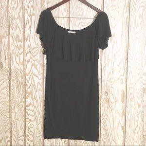 Off the shoulder ruffle black jersey dress